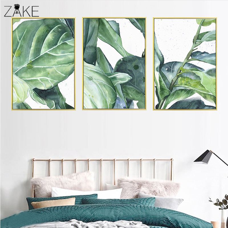 Scandinavian Watercolor Green Plant Leaf Wall Art Canvas Posters Nordic Prints Painting Pictures Modern Home Decoration