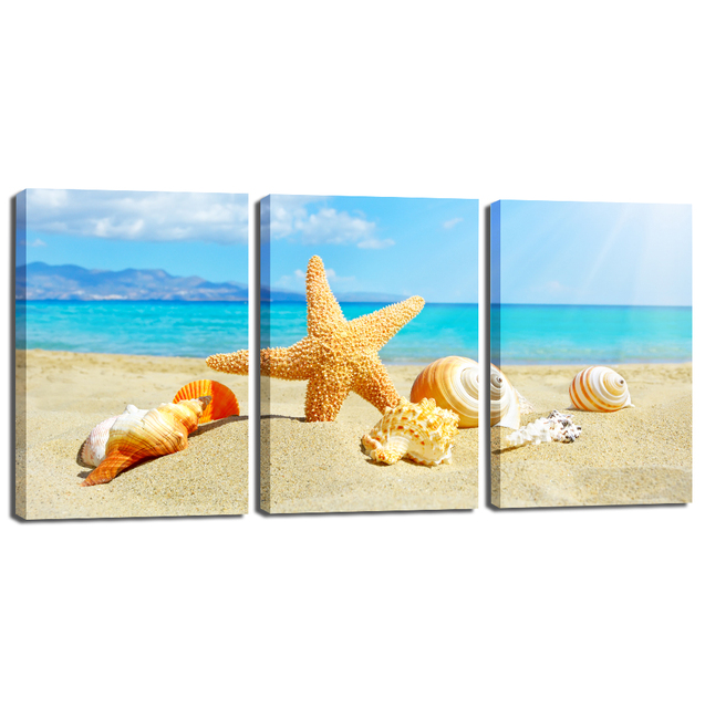 3 Pieces Canvas Wall Art Starfish And Conch Shells On Beach Paintings Printed