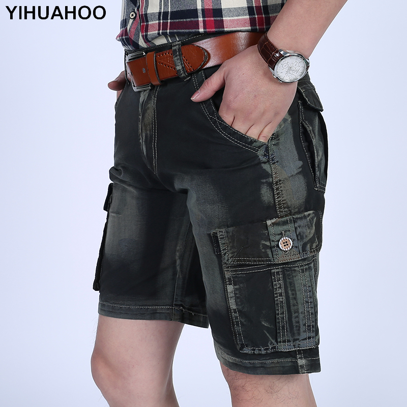 YIHUAHOO 100% Cotton Summer Shorts Men 2018 Knee Length Casual Short Pants With Multi-Pockets Bermuda Cargo Shorts LW-8M18