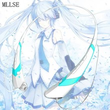 MLLSE Anime Hatsune Miku Snow Neckband Bluetooth font b Headphone b font Earphones Wireless Stereo Headset