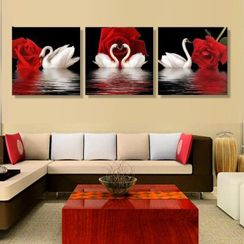 JHLJIAJUN 3 PCS Rose Swan Gambar Kanvas Lukisan Minyak Poster Ruang - Dekorasi rumah - Foto 3