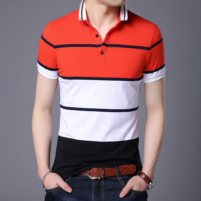 2019 New Fashion Brand Summer   Polo   Shirt Men Cotton Striped Slim Fit Short Sleeve Top Grade Boys Poloshirt Casual Men Clothing