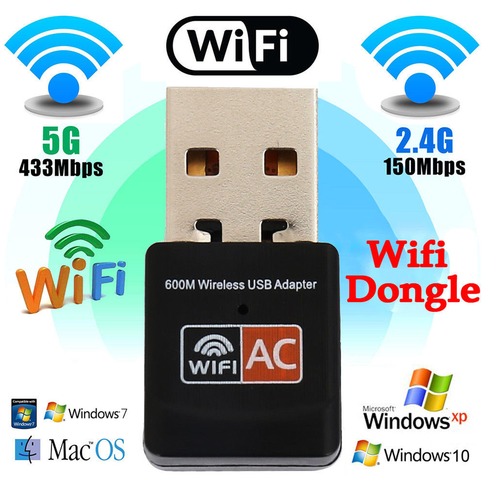 USB Dual Band Wifi Dongle 600Mbps 2.4GHz 802.11a Wireless Network Adapter