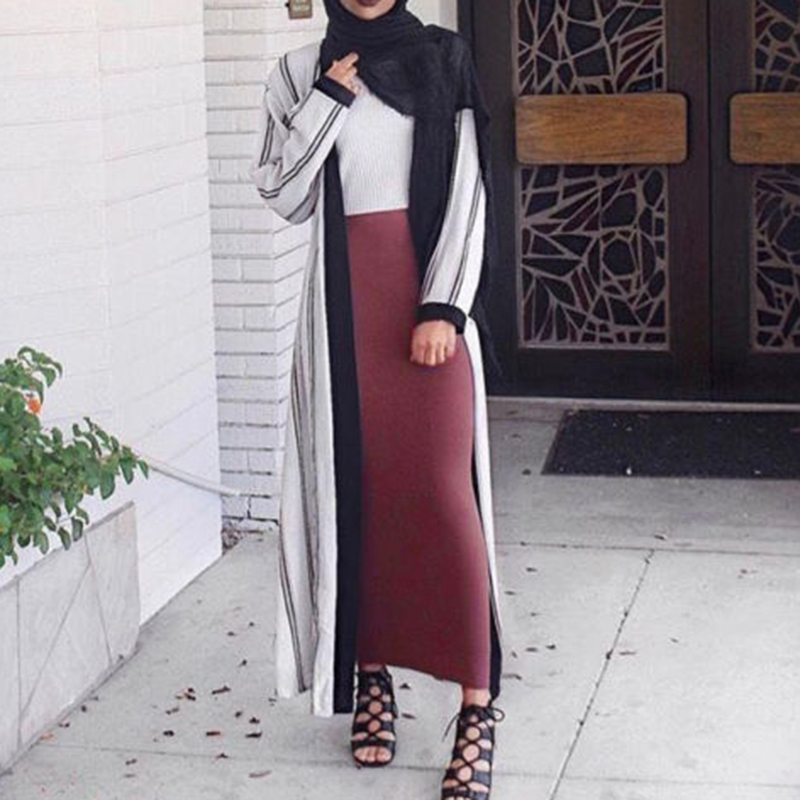 Ethnic Muslim Thick Ladies Skirts Cotton Bodycon Slim Skirts Womens High Waist Stretch Solid Long Maxi Pencil Skirt Holographic