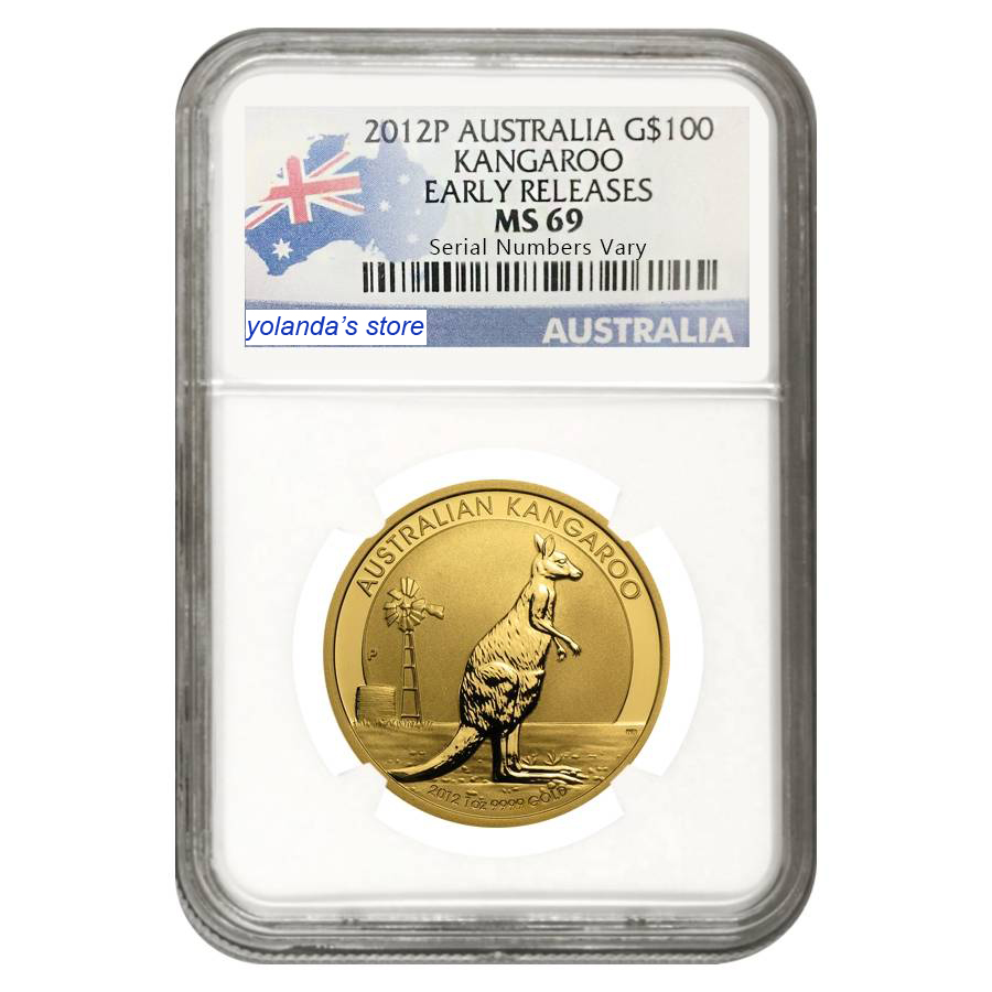 2012 Australie Kangourou des pièces évaluées MS69 1 troy Oz. de tungstène plaqué 1.5 gramme en or fin titulaire