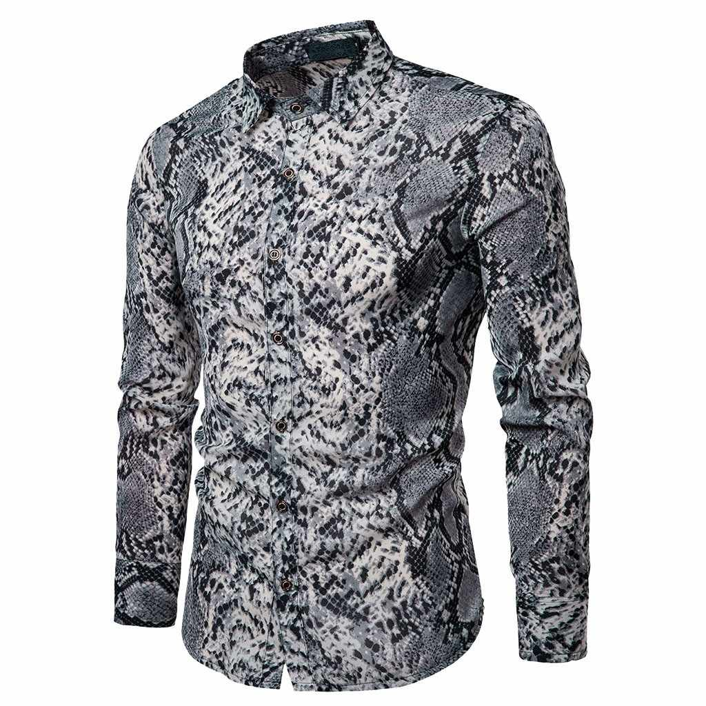 fe696a000650 2019 Men's Snake Printed Cotton Dress Shirts Male High Quality Long Sleeve  Slim Fit Business Casual