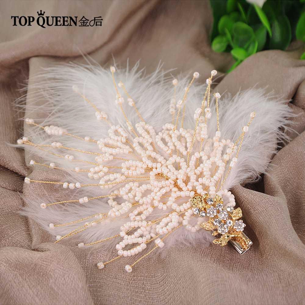 TOPQUEEN HP195 แฟน feathers headdress เจ้าสาวผมเครื่องประดับ Handmade Feather เจ้าสาวแต่งงาน Tiara อุปกรณ์เสริมผม