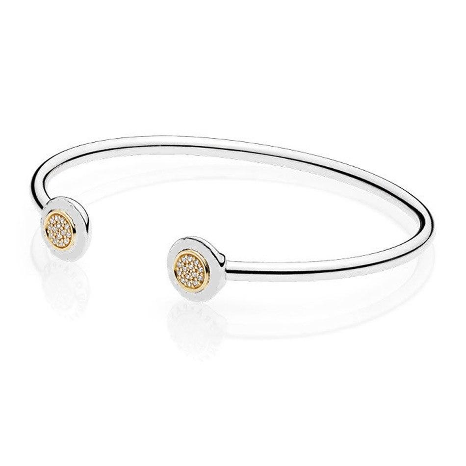 Women 925 Silver Bracelets & Bangles Pave Signature Pave Clear CZ Gold Color Open Clasp fit Pandora Beads Charms pendants DIY