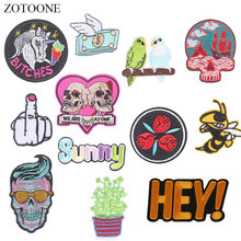 ZOTOONE Skull Unicorn Patches Letter Diy Stickers Iron on Clothes Heat Transfer Applique Embroidered Applications Cloth Fabric G zotoone round punk patches diy skull stickers iron on clothes heat transfer applique embroidered applications cloth fabric g