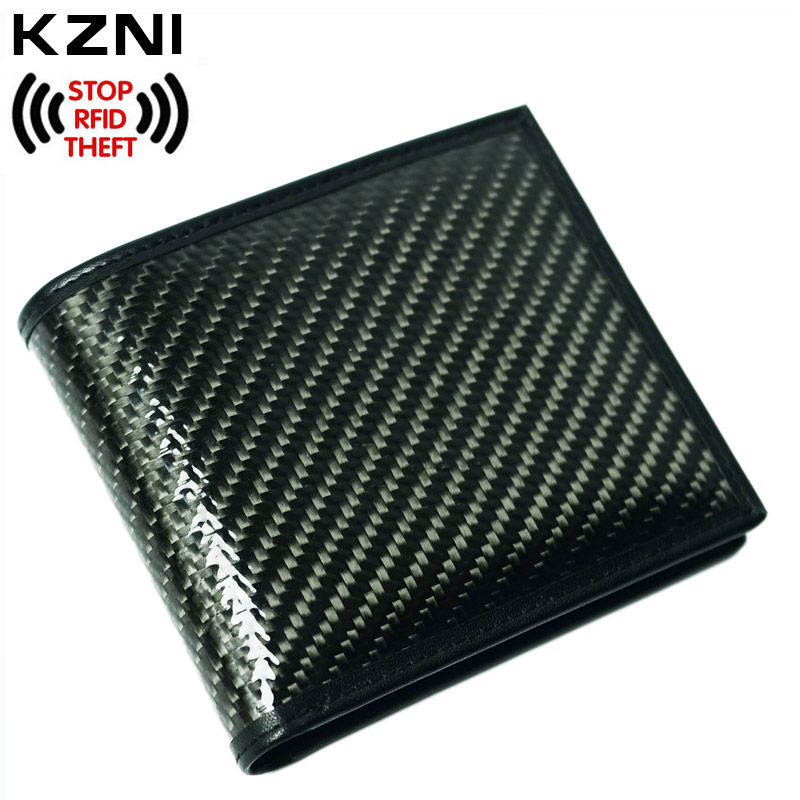 KZNI Leather Card Holder Zipper Wallet with Rfid Blocking Carbon Fiber Wallet Id Window Male Clutch Pocket Portfolio Man 005 pu leather rfid card case badge plastic id card holder for employee fair 10pcs lot