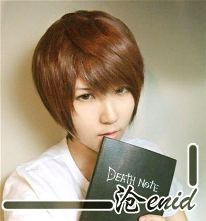 Death note peruca cosplay, peruca com gorro de cabelo castanho dourado resistente ao calor peluca, fantasia + peruca