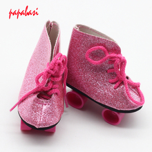 1pair Sport Shoes For 18 inch Girl Doll Roller Skating Shoes Fit For 43cm baby doll