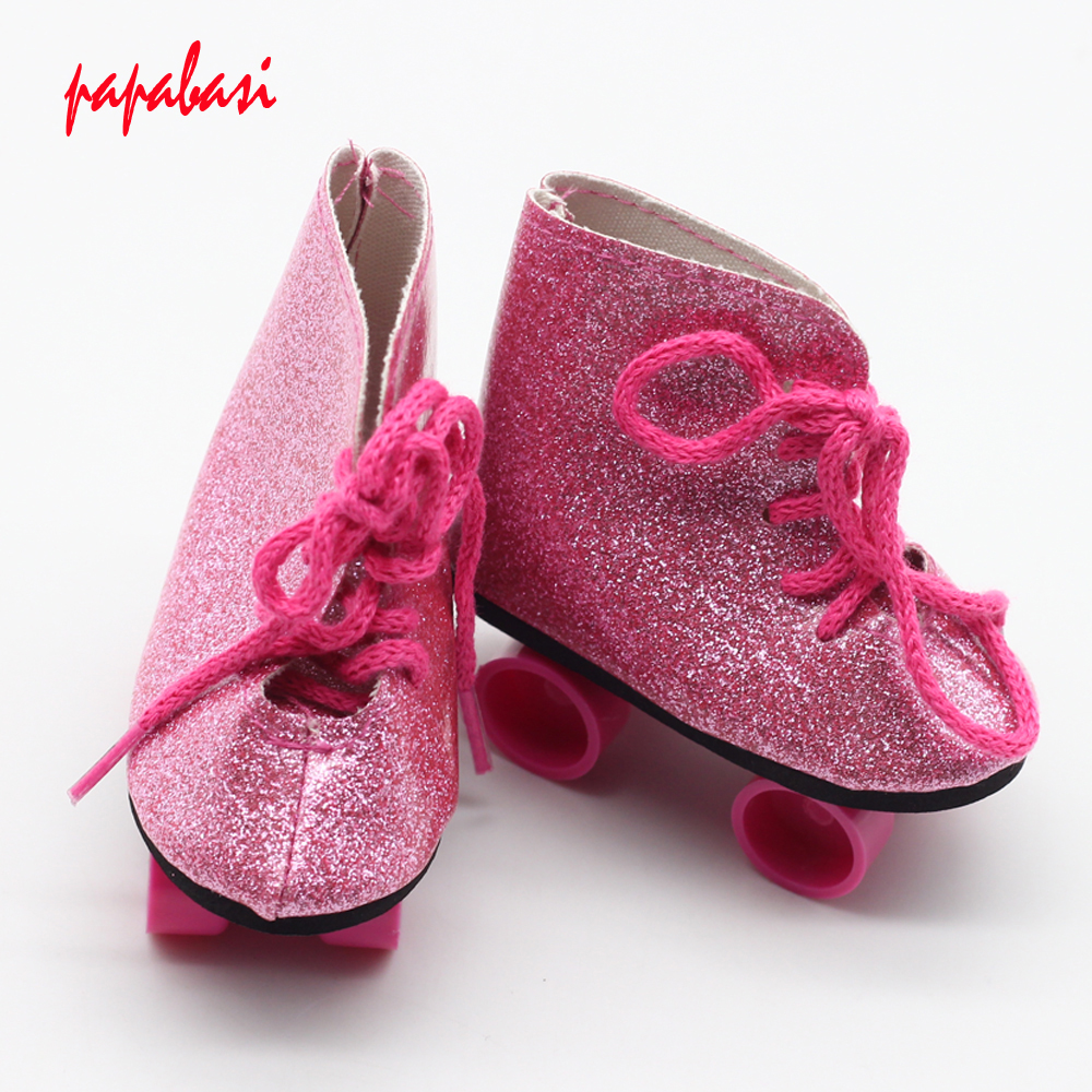 Top Quality Sport Shoes For 18 inch American Girl Doll Roller Skating Shoes Fit For Any 18Dolls