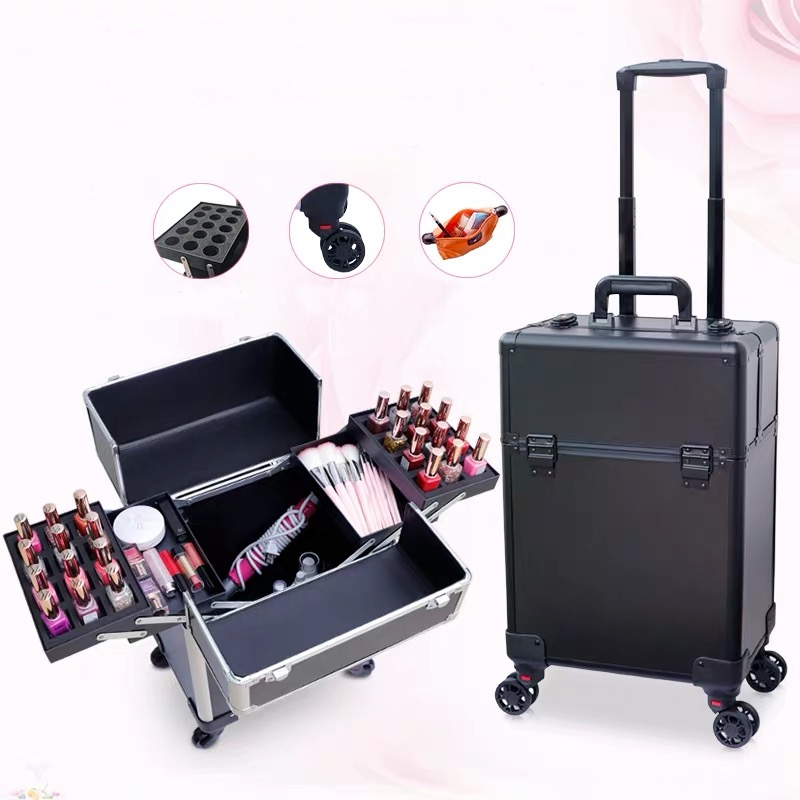 New Women Trolley Cosmetic case with Wheel Nails Makeup Toolbox Multifunction Beauty Tattoo Box Rolling Luggage