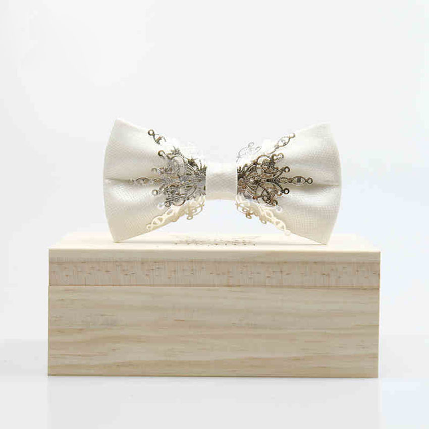 Aristocracy Style Man tie Cravat Bowknots Mens Bow Tie white Metal decor  Wedding Groom Bowtie Gifts suits accessories