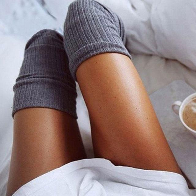 39eafc396 Aliexpress.com   Buy Fashion Women Girl Sexy Thigh High Stockings Knee High  Socks 7 Colors Cute Long Cotton Warm Knitting Pantyhose Women Leg Warmer  from ...