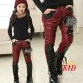 Calças quentes para as meninas ano novo roupas de inverno meninas leggings calças de pele de raposa de retalhos de algodão-down calças tamanhos grandes 5-12 T KD125