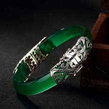 Top Fashion Boho Vintage 925 Sterling Silver Bracelets & Bangles For Women Retro Marcasite Bracelet With Green Jade