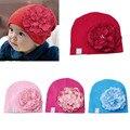 1 unid bebé sombrero grande peony flor del niño del algodón de las gorritas tejidas cap accesorios de fotografía nuevo