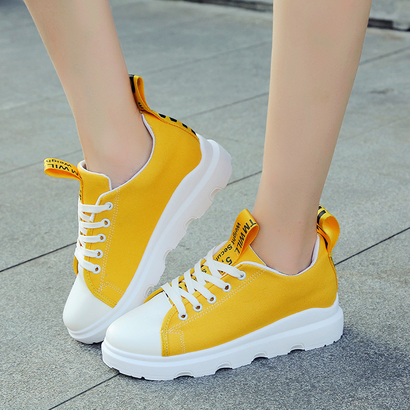 Fashion Women Canvas Shoes 2018 New 4 Colors Lace Up Student Board Shoes Ladies Casual Shoes Female Sneakers woman shoes 36-40