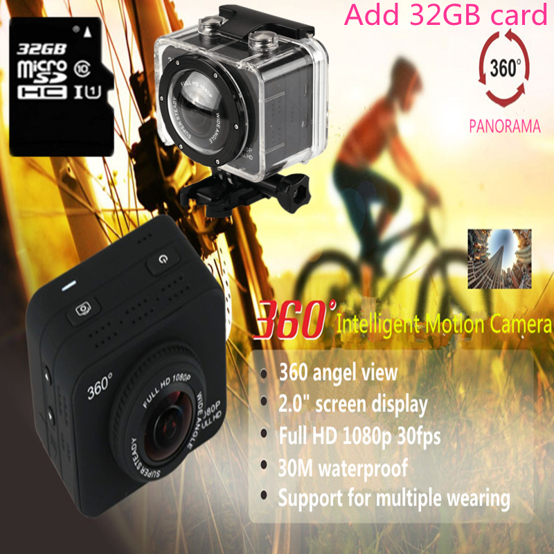 360 Degree All View 1080P 30fps HD Sport Action Sweep Panoramic Camera Mini Helmet Video Recorder Bike DVR sport cam 32GB card