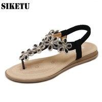 Beach Bohemia Sandals Elastic Band Shoes Woman Fashion Rhinestone Mesh Flower Flip Flops Back Strap Soft