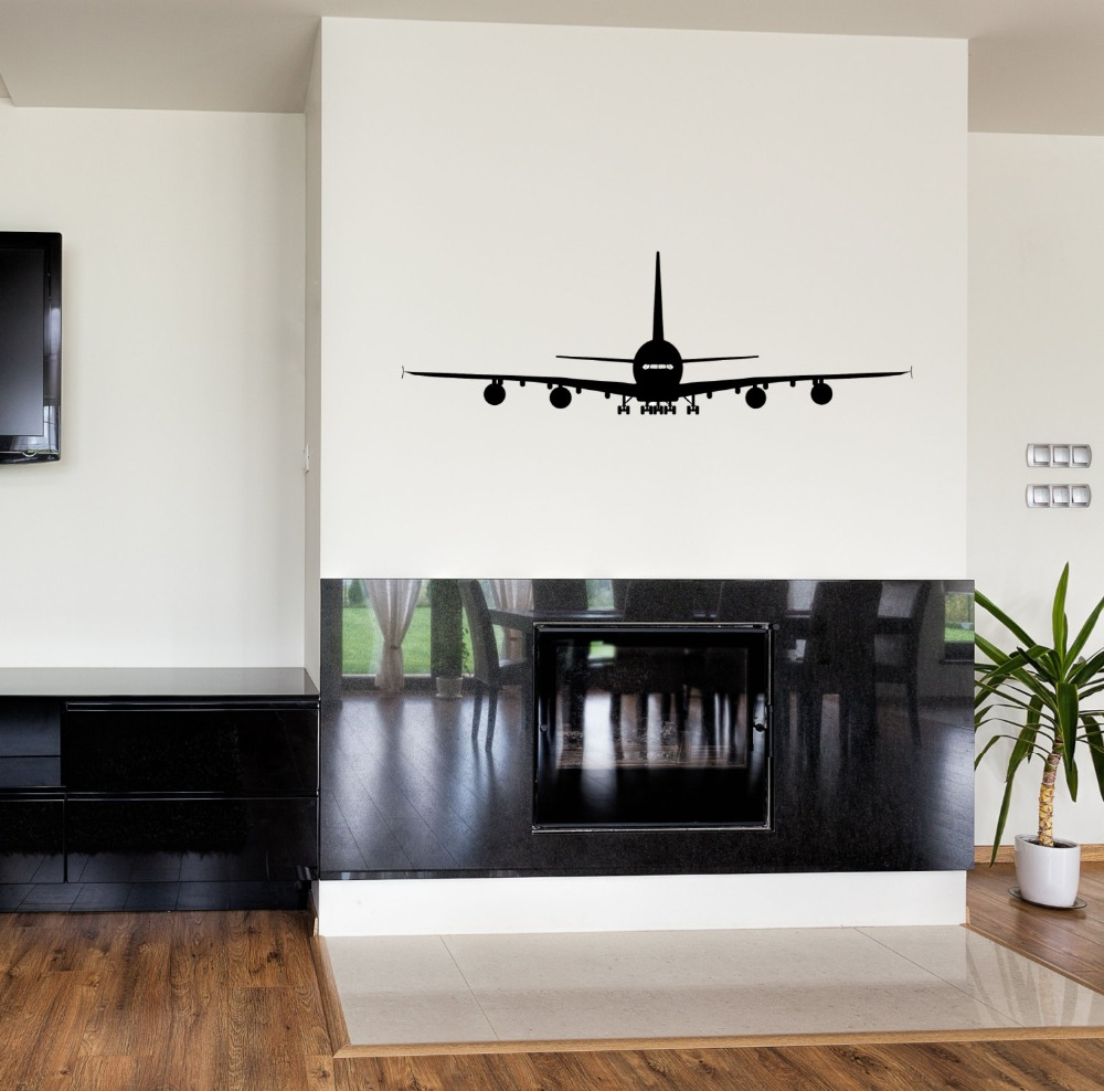 A380 Wall Stickers Aviation Living Room Waterproof Vinyl Decal vogue Airplane Pattern Removable Boy Bedroom Home Decor SYY182 image