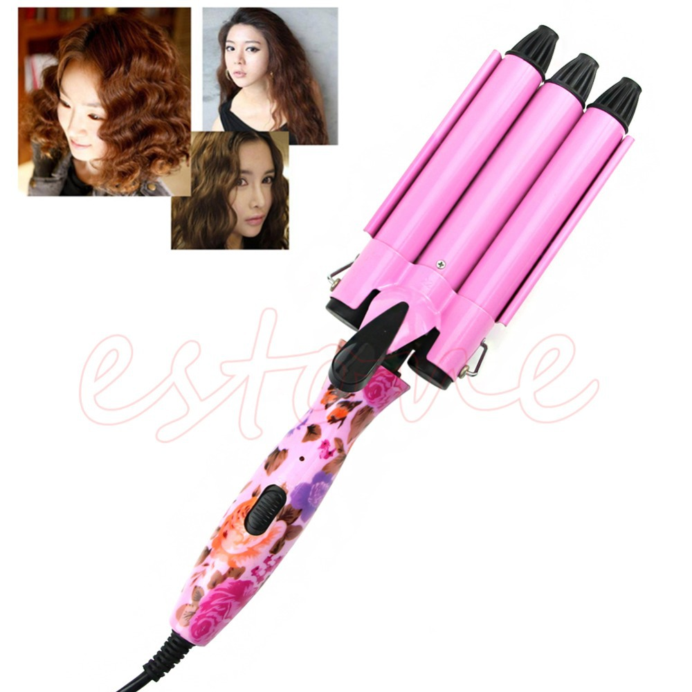 Professional Hair Waver Wave Curler Ceramic Hair Curling Iron 3 Barrel Clamp US Plug Electric Magic High Quality Wave Curler ckeyin 9 31mm ceramic curling iron hair waver wave machine magic spiral hair curler roller curling wand hair styler styling tool