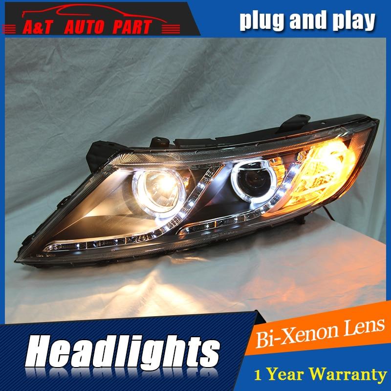 Auto Part Styling For Kia K5 headlights DRL 2011-2014 For Kia K5 LED light bar DRL Q5 bi xenon lens h7 xenon hockey sock