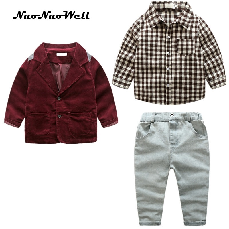 NNW Fashion 3 PCS Suit Boys Gentle Sets Autumn Children 's Clothing Sets Baby Boy Suit Long Sleeve Plaid shirts + Pants + coat nnw autumn new baby boys clothes 3pcs