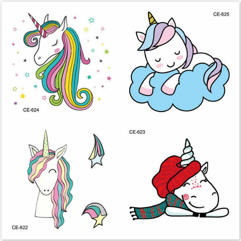 1 Set Verkopen Emoji Opgewonden Eenhoorn Cartoon Sticker Tol Gift Speelgoed Jongen Meisje Kinderen Watermerk Tattoo