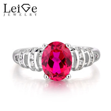 Leige Jewelry Ruby Ring Cocktail Party Ring July Birthstone Oval Cut Red Gemstone Real 925 Sterling Silver Ring Romantic Gifts