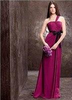 Бесплатная доставка халат де вечер 2016 новая мода горячие фиолетовый длинные шифон пром платье vestidos de festa Платья Невесты