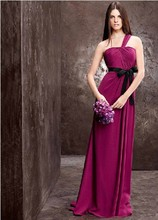 free shipping robe de soiree 2014 new fashion hot purple long chiffon party prom gown vestidos festa Bridesmaid Dresses