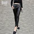 Black genuine leather pants 100% lambskin splice pencil pants rivet decor stretch trousers pantalon femme pantalones mujer LT832