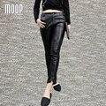 Pantalones de cuero 100% de piel de cordero genuino negro splice lápiz pantalones rivet decor stretch pantalones pantalon femme mujer pantalones LT832
