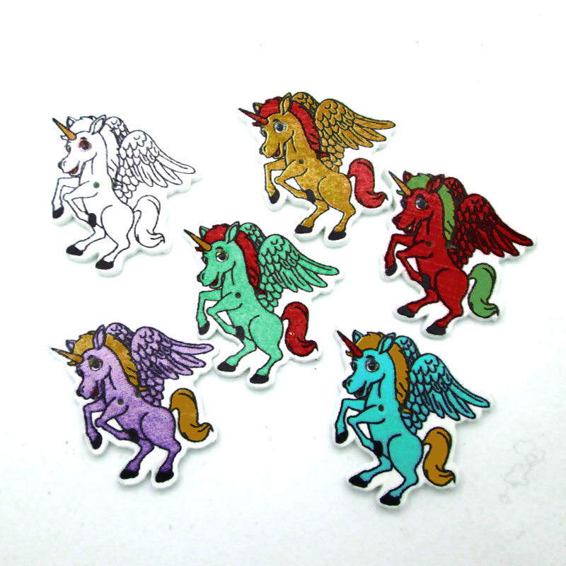 50pcs 32x27mm Mixed Horse Buttons For Clothes Crafts Sewing Scrapbooking DIY Accessories