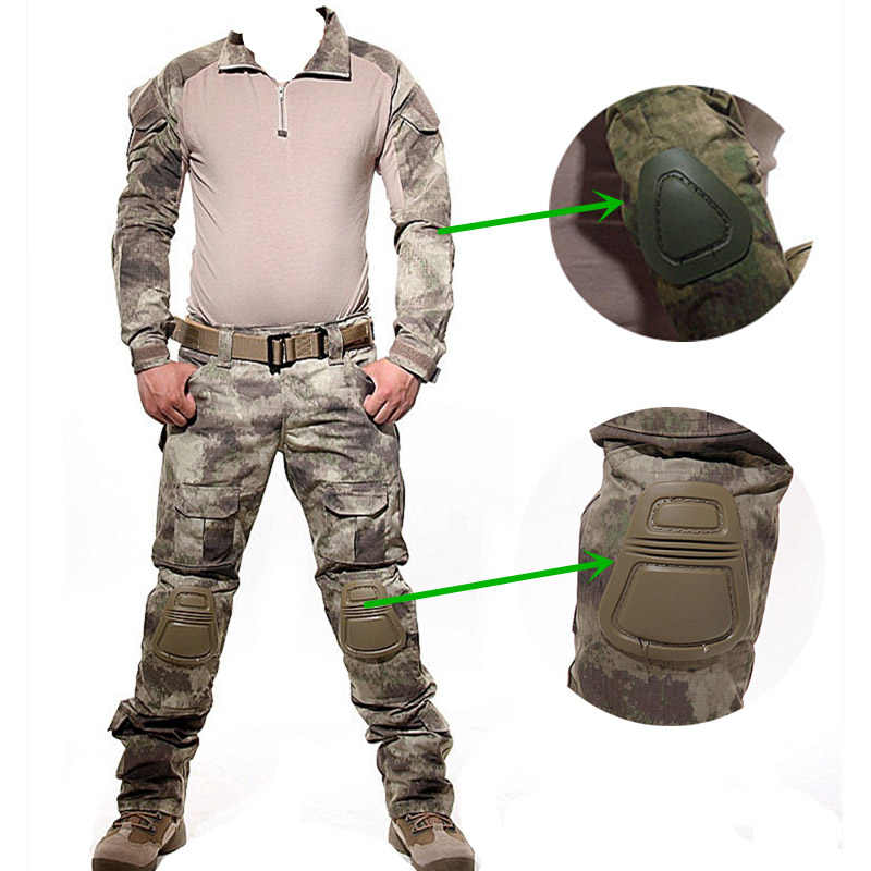 Армейская Военная униформа, камуфляж тактический боевой костюм для игры в страйкболл, войнушки одежда рубашка + брюки наколенники Налокотники