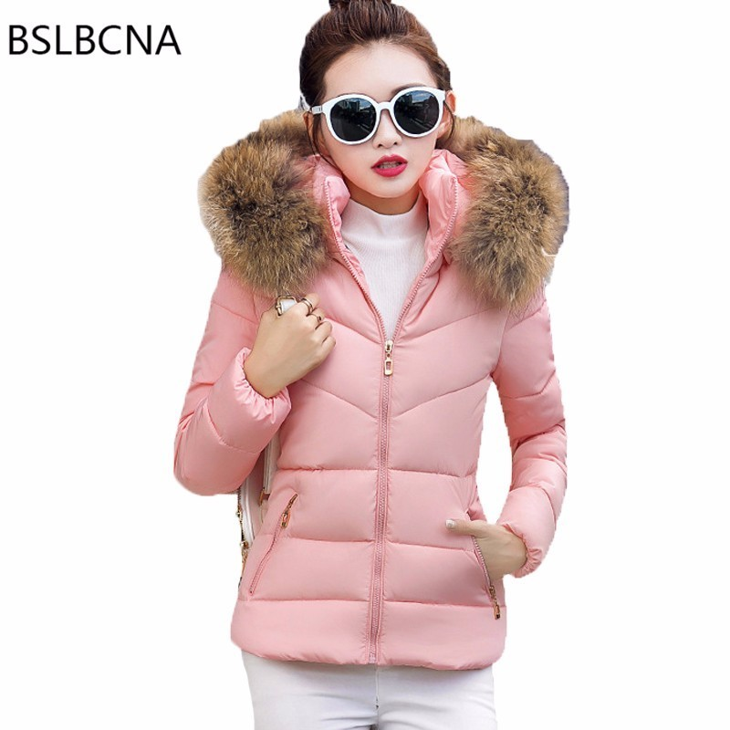 Thicken Outerwear Hat Short OverCoat Female Slim Cotton Padded Basic Tops 2018 Winter Coat Women Clothes Plus Size   Parka   T70