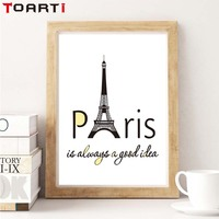Traveling Paris Always A Good Idea Quote Canvas Print Poster Home Decor For Living Room Office