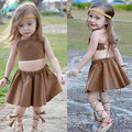 2016 New Fashion Children Kids Baby Girl Bandage Tops+Skirts 2pcs Suit Outfits Set Sundress Tracksuit For Girls Clothing Sets