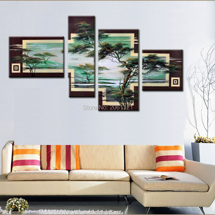 Hand Painted Tree Painting Green Landscape 4 Piece Canvas Wall Art ...