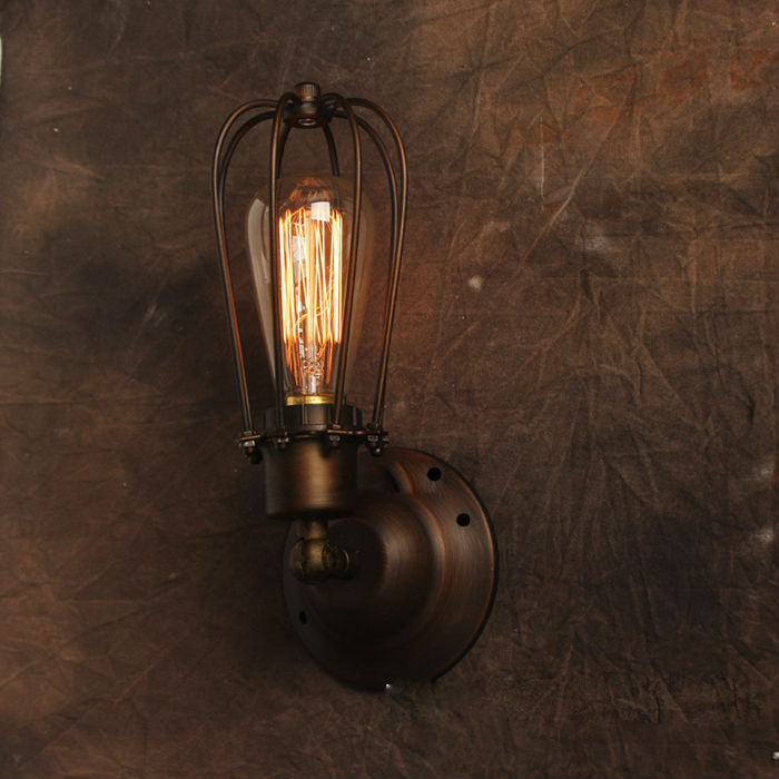 American Style Vintage Wall Lamp Industrial Edison Lamps Beside Mounted Cage Art Deco RH Loft Lighting For Coffee Kitchen Bar american style retro desk light wooden base led lamp cafe bar table lamps bedroom industrial water pipes art deco lighting