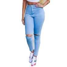 d801833acd9 Hirigin Sexy Women High Waisted Full Length Jeans Skinny Stretchy Pants  Ripped Distressed Pencil Jeggings pants
