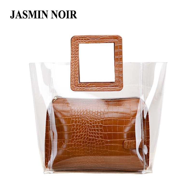 2018 New Summer PVC Transparent Lady Handbag and Purse Jelly Women's Beach Bag Crocodile Waterproof Brand Design Women Tote Bag stylish women s tote bag with clip closure and crocodile print design