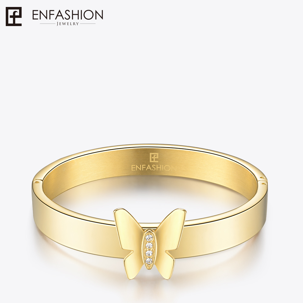 Enfashion Play Series Butterfly Screw Cuff Bracelet Bangle Gold color Charm Bangles Bracelets For Women DIY Jewelry 70108005