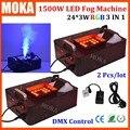 2 Pcs/lot 1500w dmx stage Smoke machine LED DMX512 Upward spraying Fog machine led rgb colorful effect for indoor dj club party