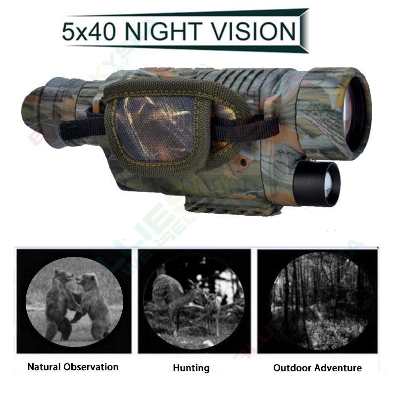 BOBLOV 5X40 Óculos Monocular Digital de Visão Noturna Infravermelha 200m Gama de Câmaras de Vídeo DVR para a Câmera de Caça Dispositivo