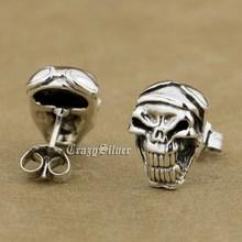 925 Sterling Silver Skull Mens Biker Punk Stud Earring 8R024 (2 Pieces)