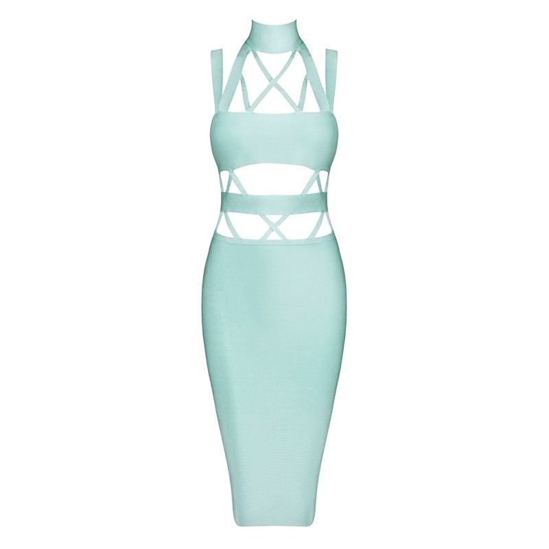 6f62cc56e158 Bqueen 2017 New Women s Cutout Backless Bodycon Bandage Dresses Autumn Mint  Green Sexy O Neck Hollow Out Strap Cross Party Dress-in Dresses from  Women s ...